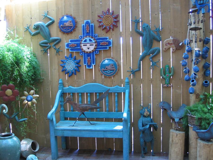 Lndscape - New Mexico . Bench And Decorations In Turquoise Photograph - Turquoise Corner by Dora Sofia Caputo Photographic Art and Design