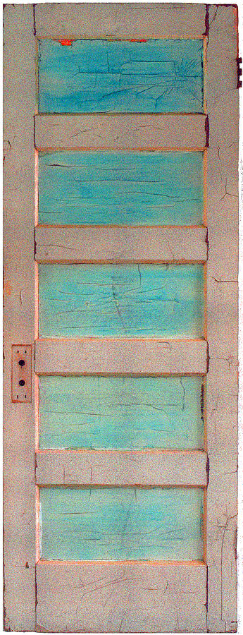 Door Paining Sculpture - Turquoise Doorway And Ladder To The Sky by Asha Carolyn Young