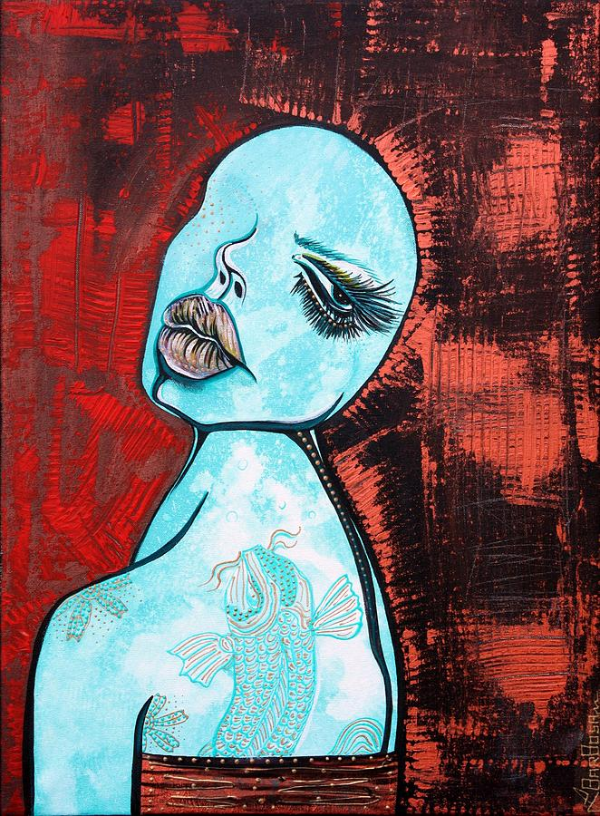 Figurative Painting - Turquoise Girl by Laura Barbosa