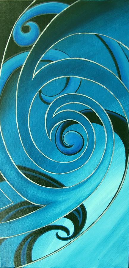 Print Painting - Turquoise Glass Koru by Reina Cottier