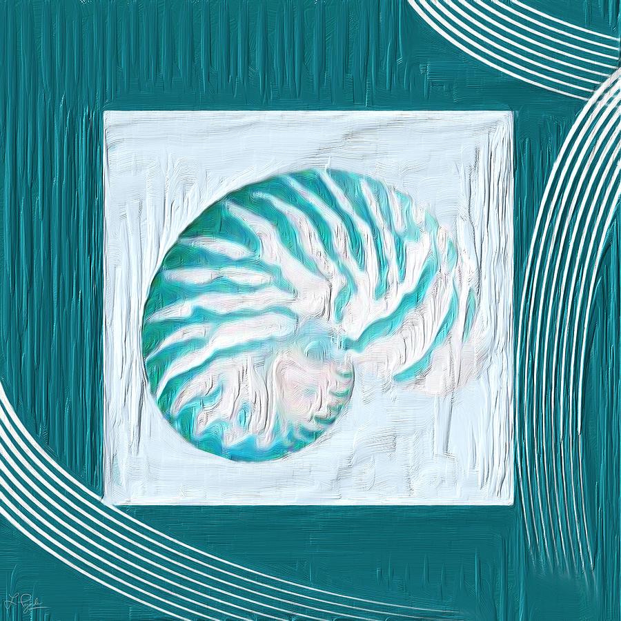 Seashell Painting - Turquoise Seashells Xxi by Lourry Legarde