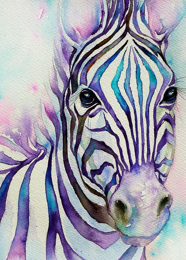 Turquoise Stripes Zebra Painting By Arti Chauhan