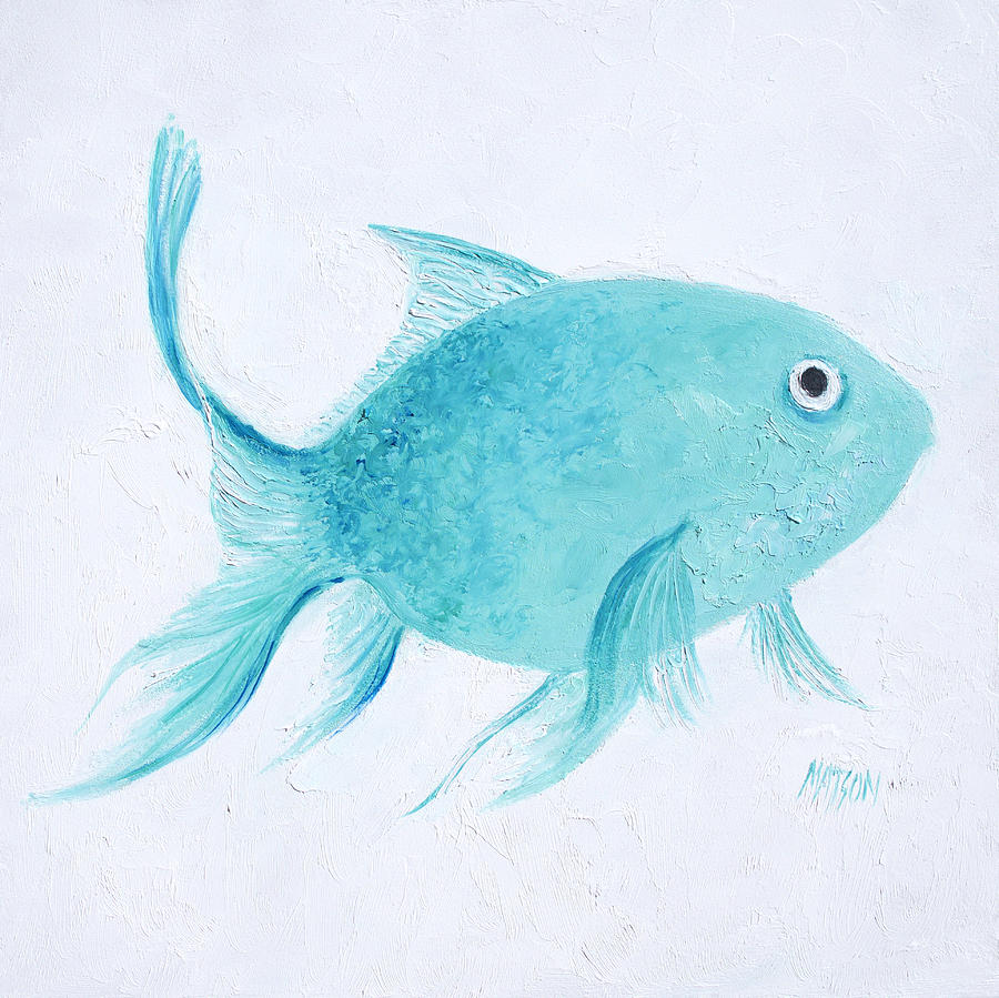 Turquoise tropical fish painting by jan matson