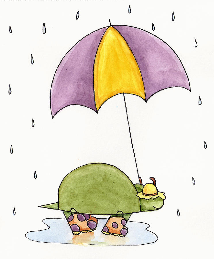 Turtle In The Rain Painting