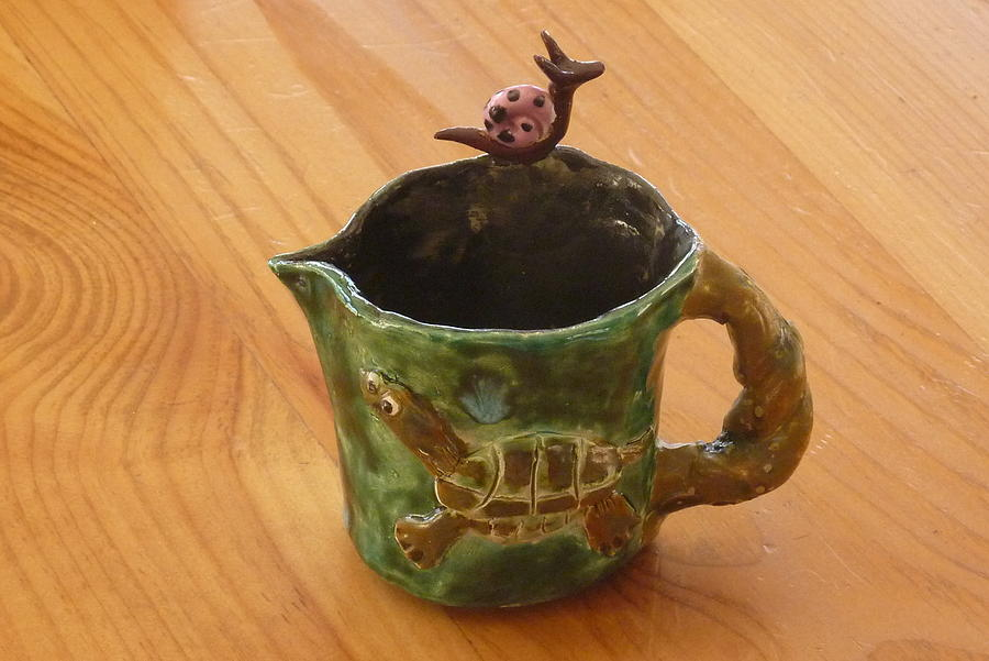 Serving Sculpture - Turtle Loon Pink Snail Sweet Pitcher4 by Debbie Limoli