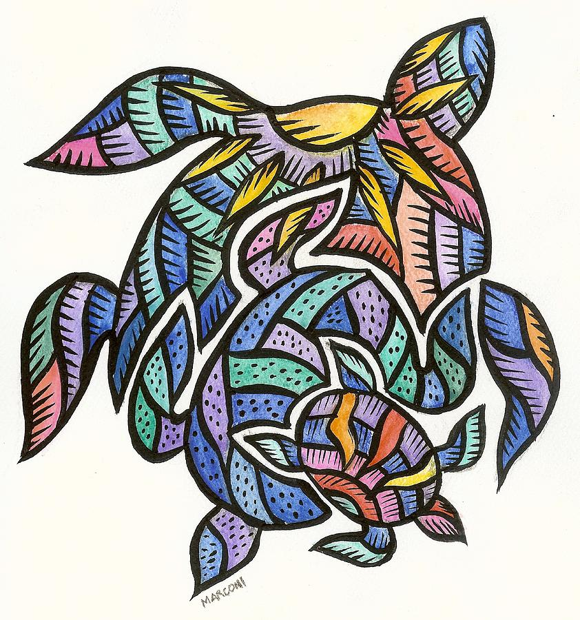 Turtles 2009 Painting by Marconi Calindas
