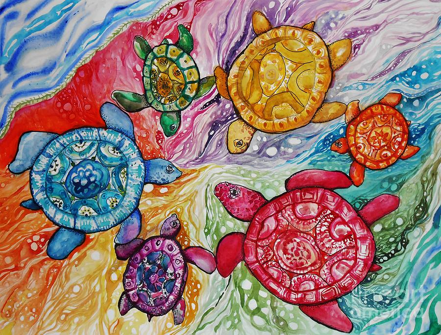 Turtles Color Wheel Painting By Emily Michaud