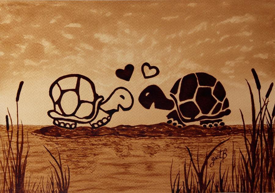 Abstract Sea Turtle Painting - Turtles Love Coffee Painting by Georgeta  Blanaru