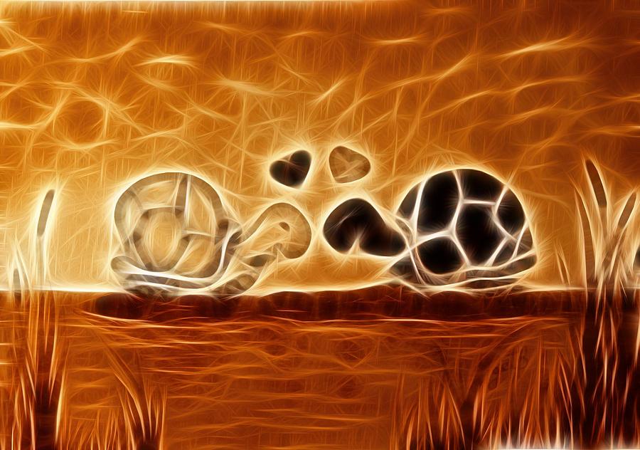 Turtles Painting - Turtles Love Fractalius by Georgeta Blanaru