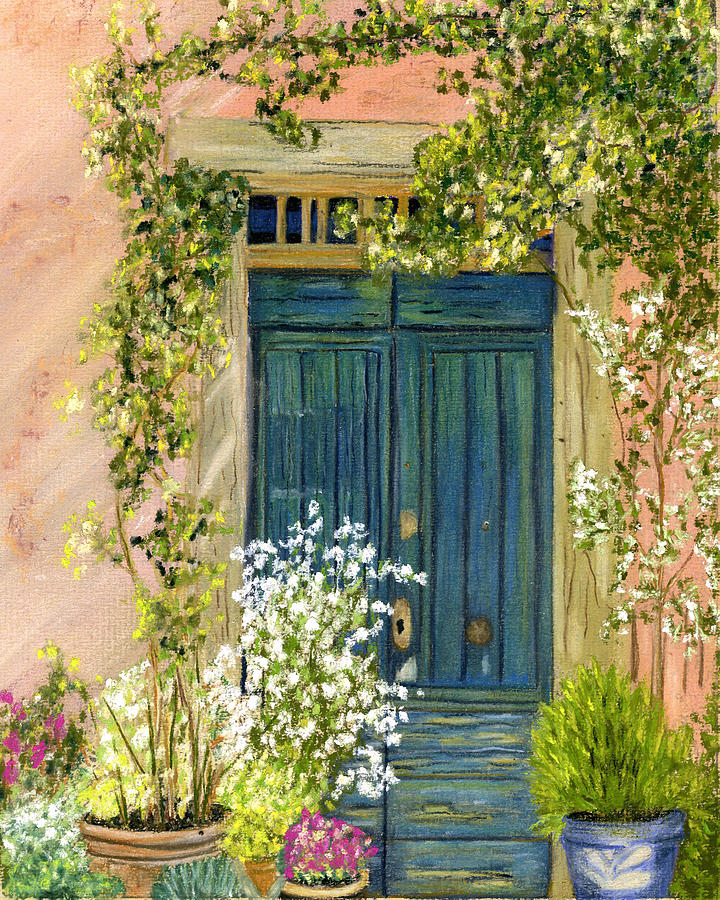 Blue Door Painting - Tuscan Blue Door by Sarah Dowson  sc 1 st  Fine Art America & Tuscan Blue Door Painting by Sarah Dowson