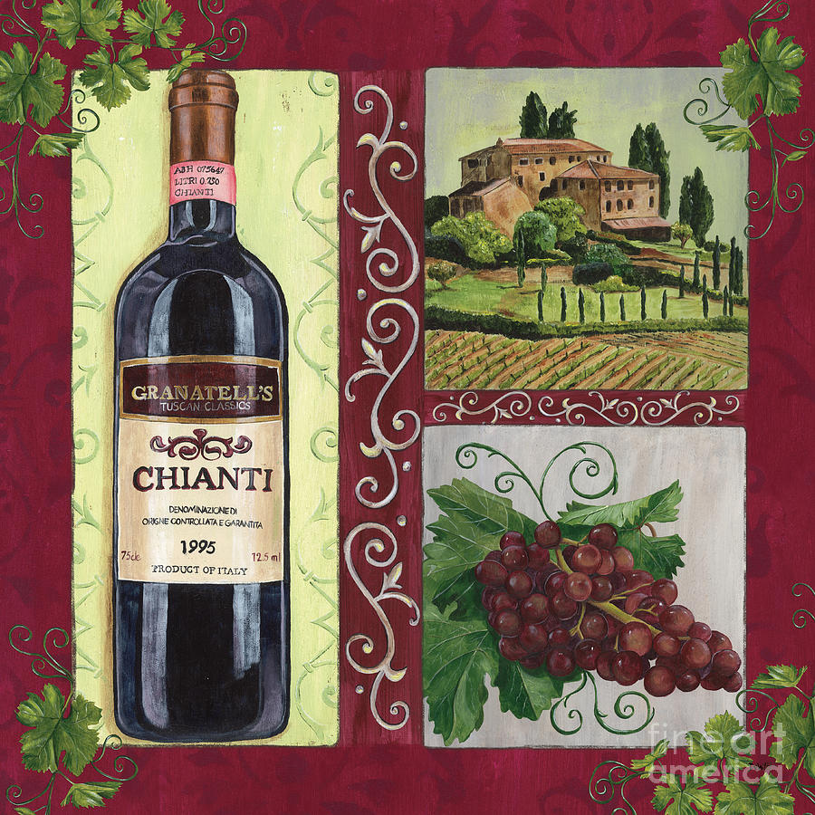 Wine Painting - Tuscan Collage 1 by Debbie DeWitt