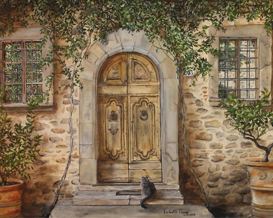 Wine Painting - Tuscan Door by Lizbeth Gage