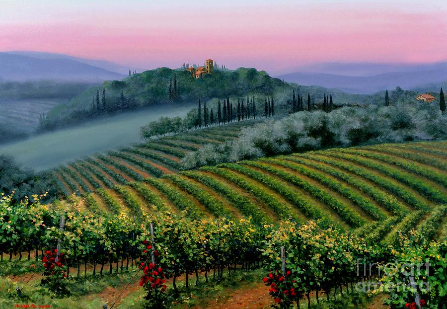 Tuscan Sunset Painting - Tuscan Dusk by Michael Swanson