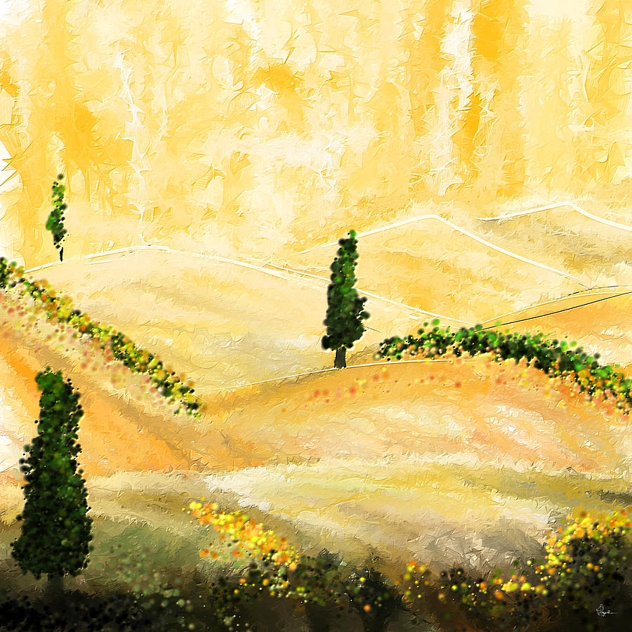 Tuscan Glow- Tuscan Impressionist Paintings Painting by Lourry Legarde
