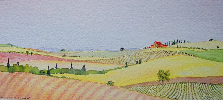 Watercolor Painting - Tuscan Hillside Three by Mary Ellen Mueller Legault