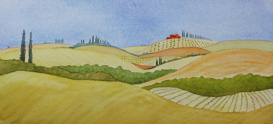 Italy Painting - Tuscan Hillside Two by Mary Ellen Mueller Legault