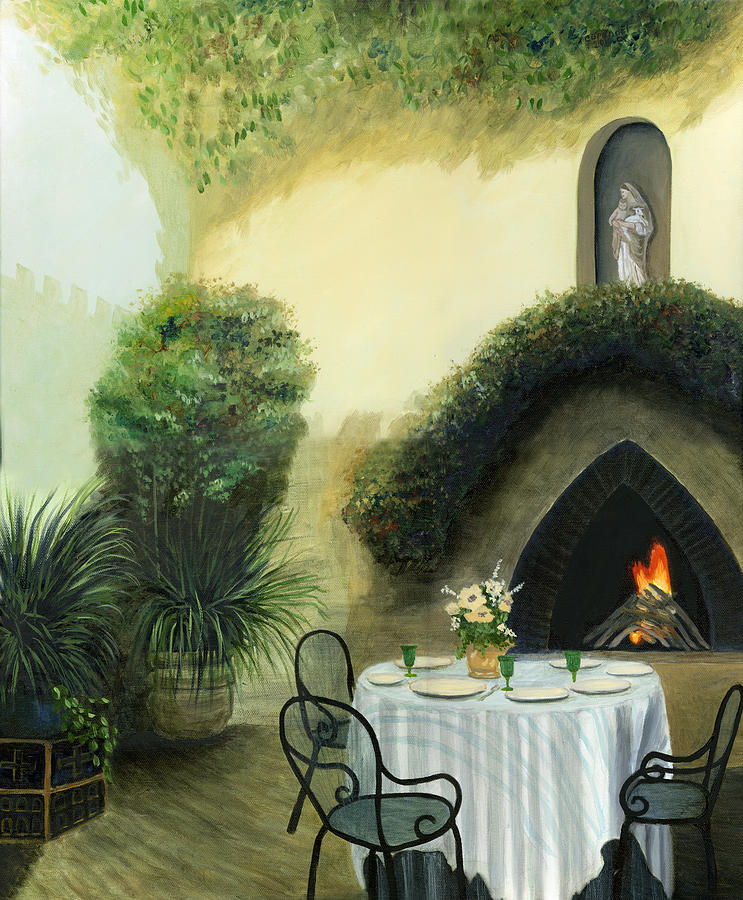 Mediterranean Art Oil Painting Canvas Original Tuscany Italy Italian Fire Herb Garden Blessed Mother Mary Statue Out Door Scene Italy Table Chairs Dining Setting Greenery Flowers Flowers Cecilia Brendel Classical Painting Cecilia Brendel Beautiful Romantic Print Canvas Oil Painting Framed Painting - Tuscan Luncheon by Cecilia Brendel