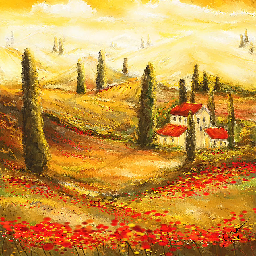 Tuscan Poppies - Tuscan Poppy Fields Impressionist Painting by ...