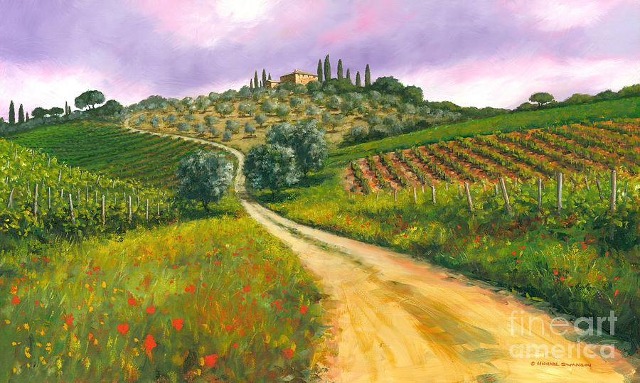 Tuscany Hills Painting - Tuscan Road by Michael Swanson