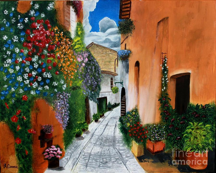 Tuscan Street Scene Painting