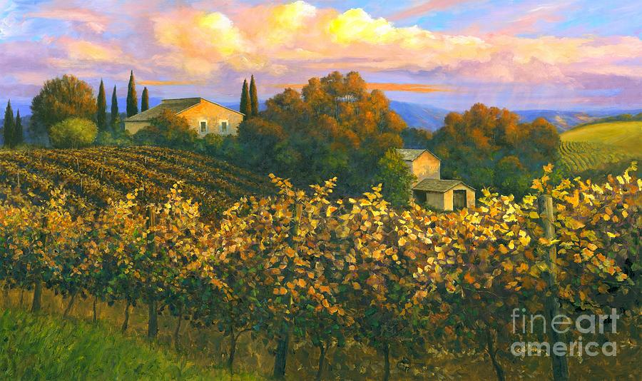 Grapevine Painting - Tuscan Sunset 36 X 60 - Sold by Michael Swanson