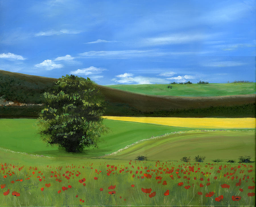 Tuscan Italy Poppy Poppies Field Landscape Tree Rolling Hills Blue Sky Bright Day Big Tree Floral Flower Flowers Art Original Oil On Canvas Cecilia Brendel Red Flowers Painting - Tuscan Tree With Poppy Field by Cecilia Brendel