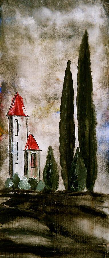 Tuscan Village Painting - Tuscan Village Landscape Fine Art Print by Laura Carter