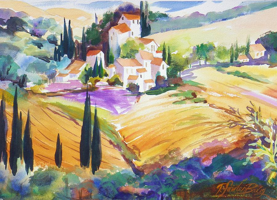 Tuscan Villas Painting - Tuscan Villas And Fields by Therese Fowler-Bailey