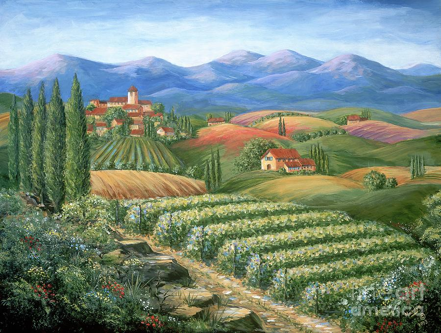 Wine Painting - Tuscan Vineyard and Village  by Marilyn Dunlap