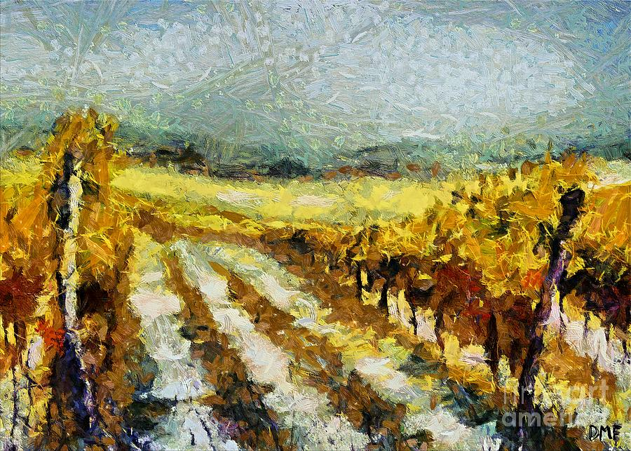 Landscapes Painting - Tuscan Vineyard by Dragica  Micki Fortuna