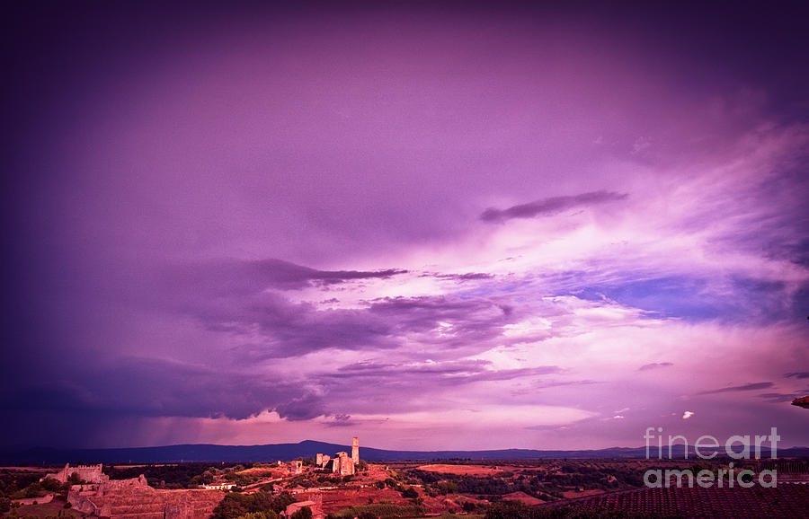 Italian Photograph - Tuscania Village With Approaching Storm  Italy by Silvia Ganora