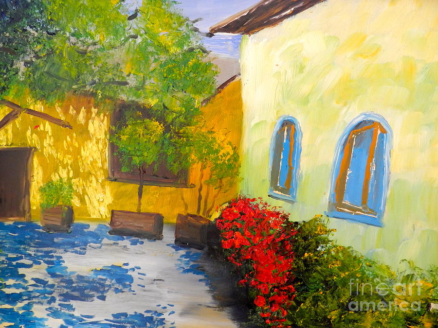 Impressionism Painting - Tuscany Courtyard 2 by Pamela  Meredith