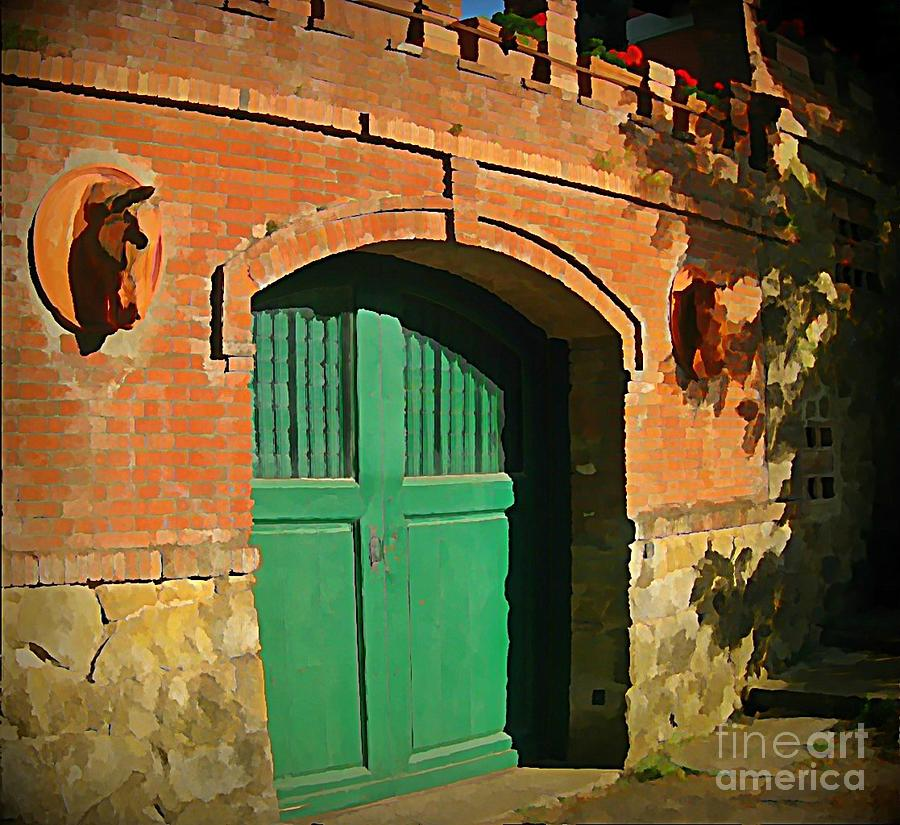 Equine Painting - Tuscany Door With Horse Head Carvings by John Malone