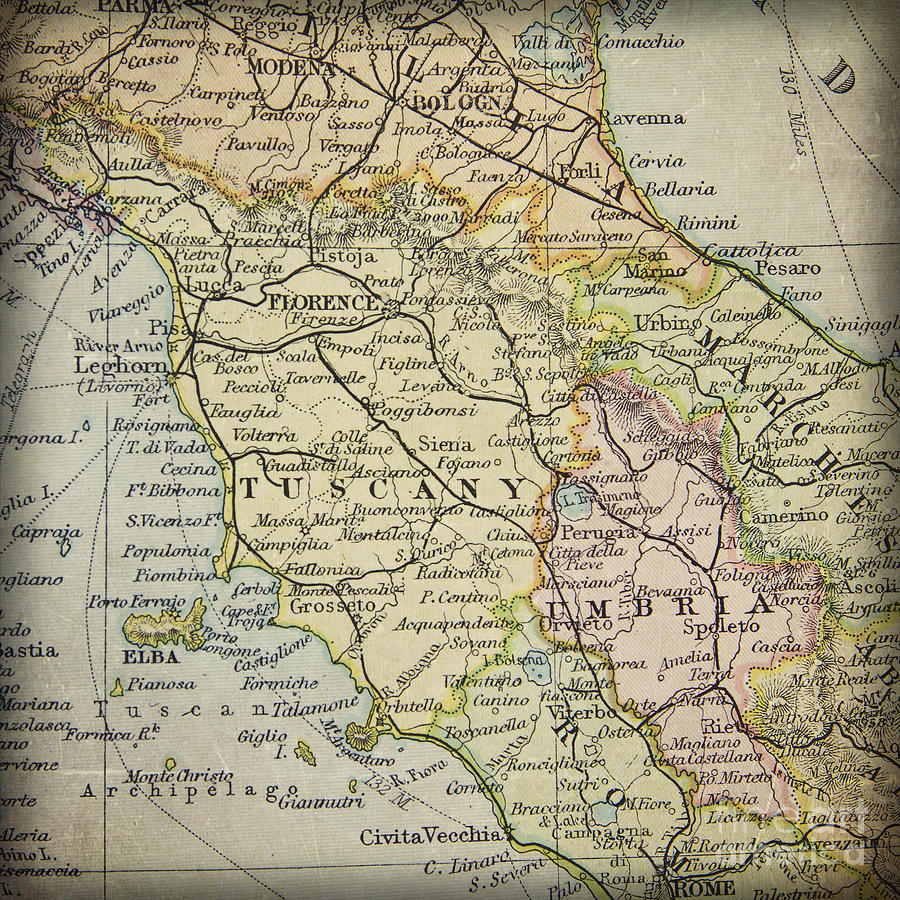 Tuscany Italy Region In A Vintage Map Atlas Photograph By ELITE - Map tuscany