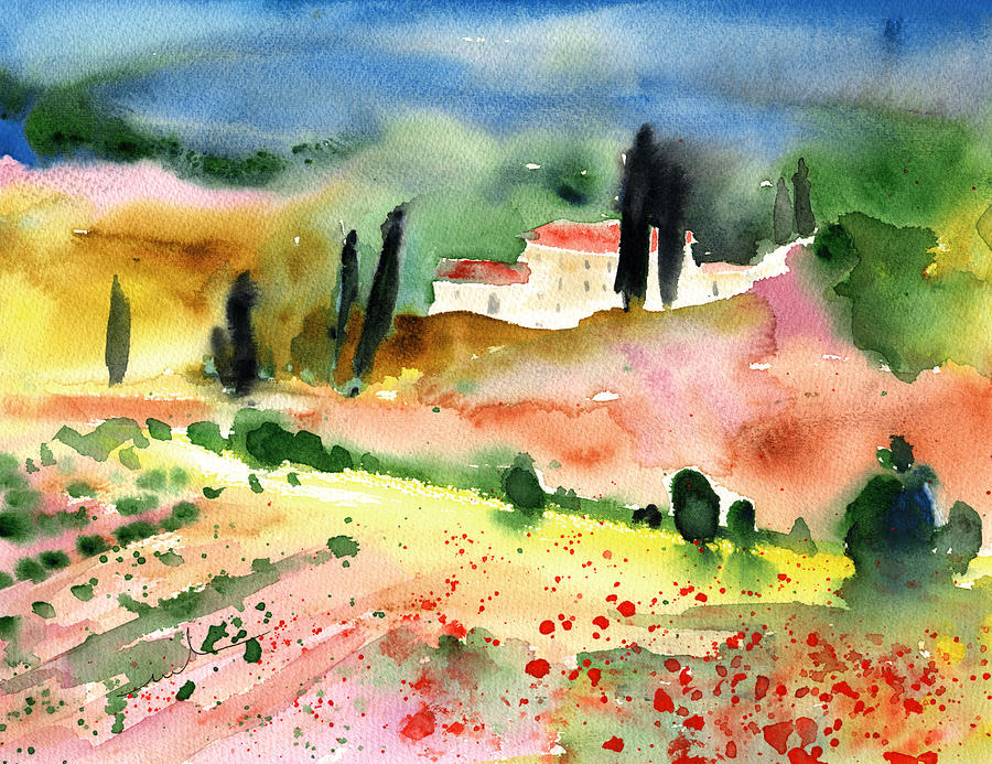 Italy Painting - Tuscany Landscape 02 by Miki De Goodaboom