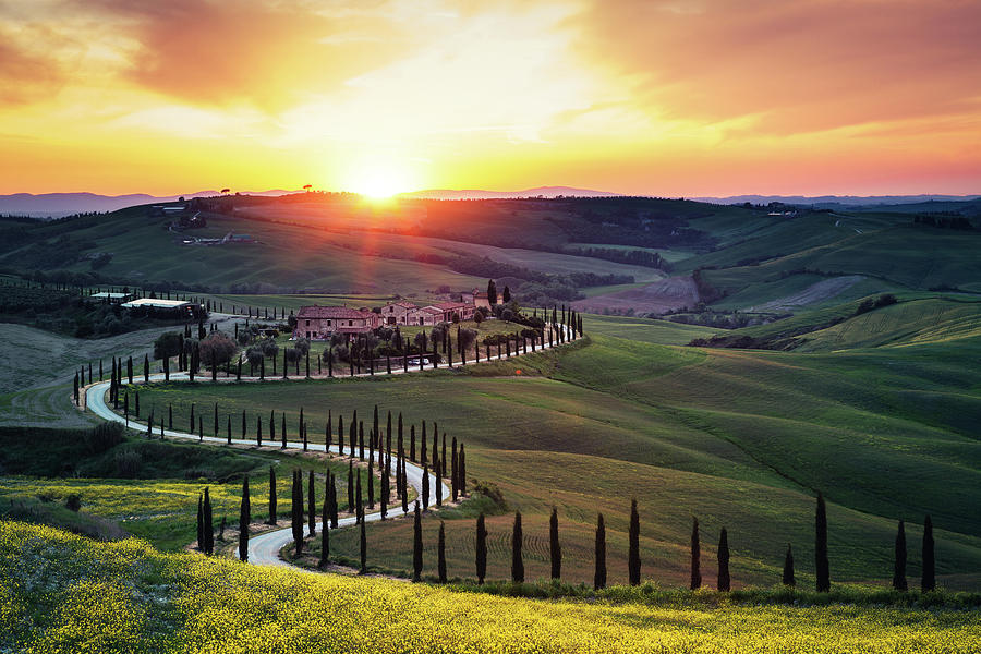 Tuscany Landscape At Sunset Photograph by Borchee