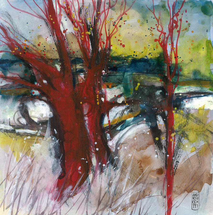 Landscape Painting - Tuscany Landscape With Red Tree by Alessandro Andreuccetti