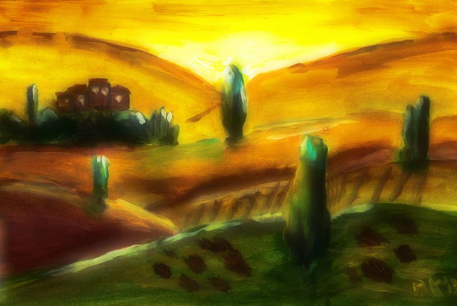 Italy Painting - Tuscany Sunrise by Peg Holmes