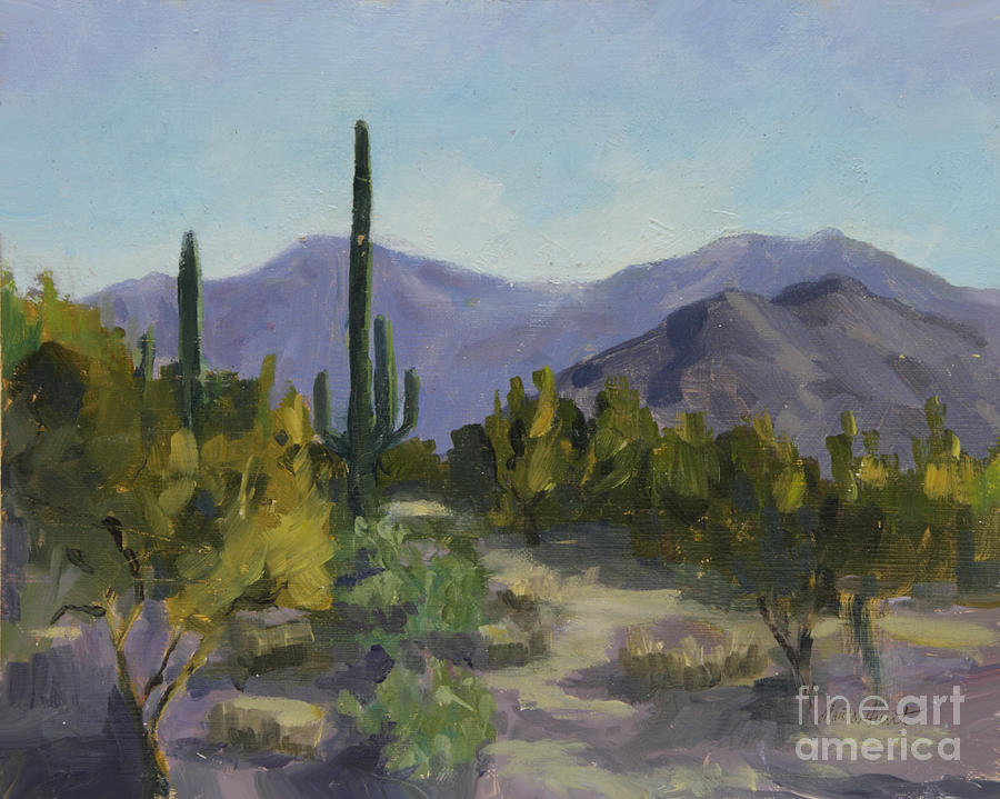 Saguaro Painting - The Serene Desert by Maria Hunt