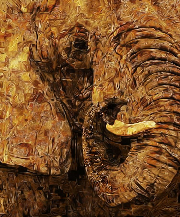 Elephant Painting - Tusk - Happened At The Zoo by Jack Zulli