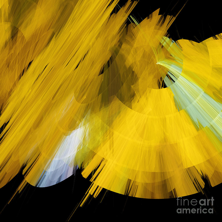 Ballerina Digital Art - Tutu Stage Left Abstract Yellow by Andee Design