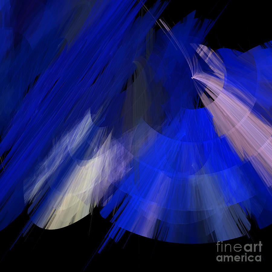 Ballerina Digital Art - Tutu Stage Left Blue Abstract by Andee Design