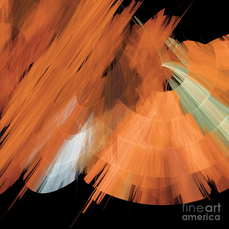 Ballerina Digital Art - Tutu Stage Left Peach Abstract by Andee Design