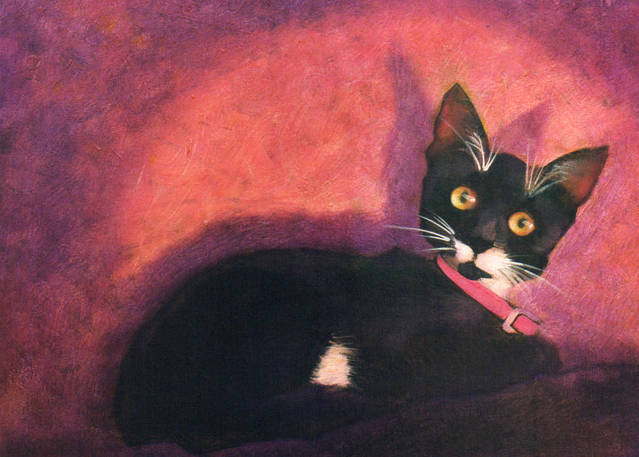 Cat Painting - Tux by Blue Sky