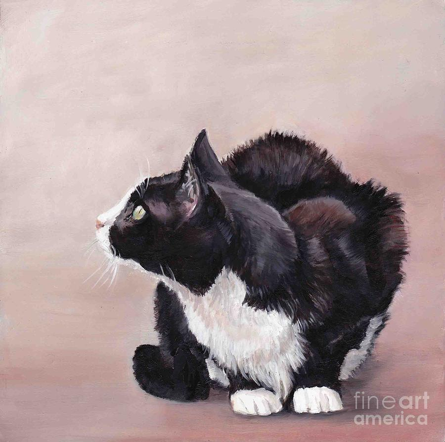 Pet Portrait Painting - Tuxedo Cat Bird Watcher by Charlotte Yealey