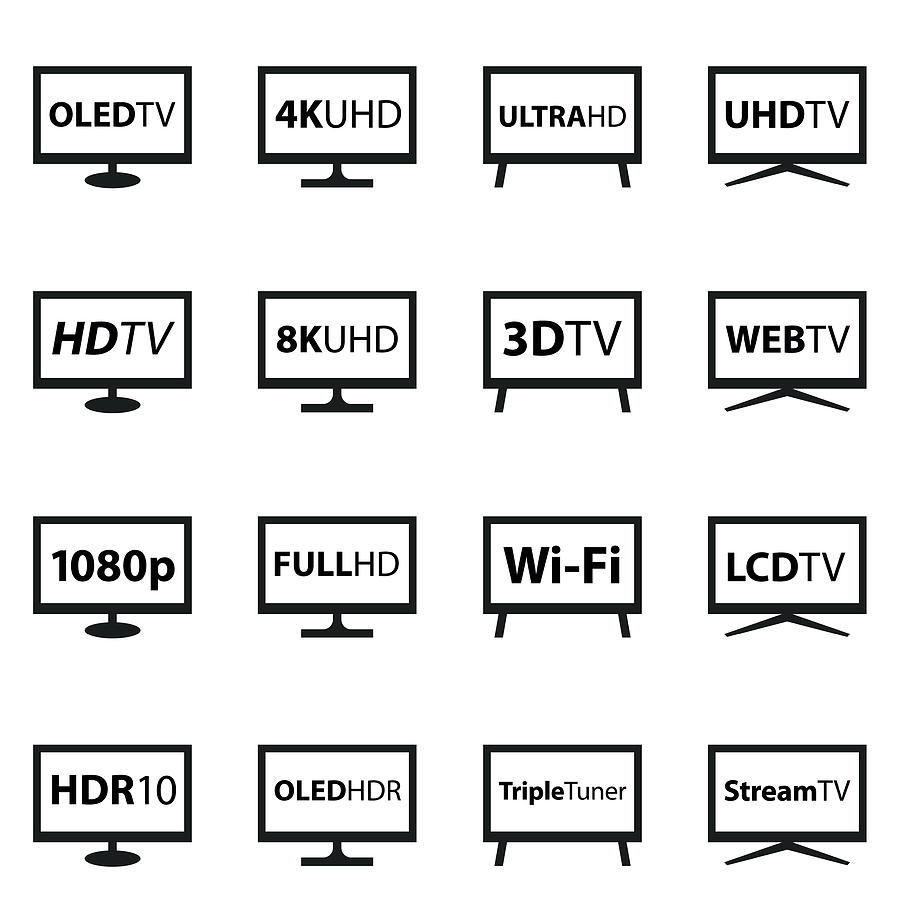 TV Icon Set Drawing by Et-artworks