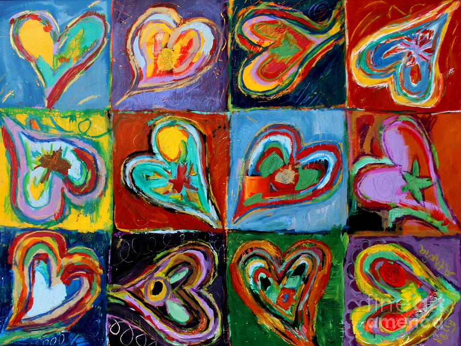 Colorful Hearts Painting - Twelve Dancing Hearts by Kelly Athena