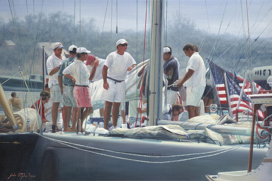 Sailing Regattas Painting - Twelve Meter Men by Julia OMalley-Keyes