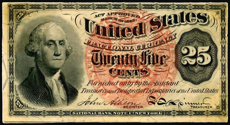 Twenty Five Cent 4th Issue U.s. Fractional Currency Fr 1302 Painting - Twenty Five Cent 4th Issue U.s. Fractional Currency Fr 1302 by Lanjee Chee