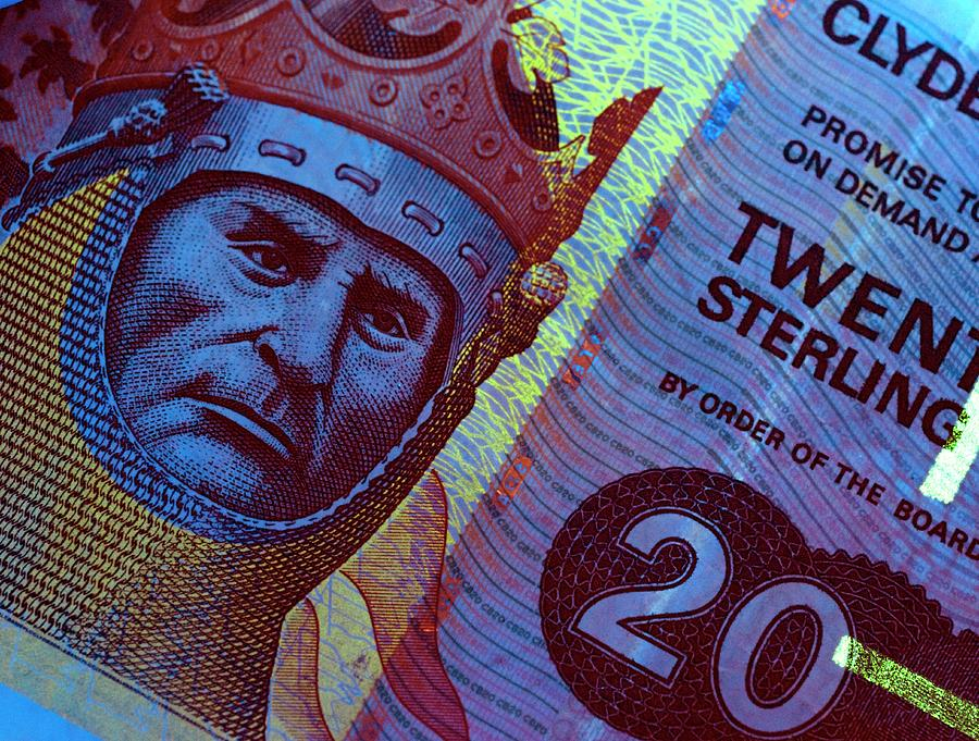 Banknote Photograph - Twenty Pound Scottish Banknote In Uv by Louise Murray/science Photo Library